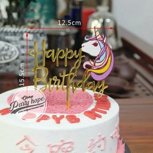 Foto Produk Cake topper happy birthday / tusukan hiasan kue hbd kepala unicorn dari PARTY HOPE 2