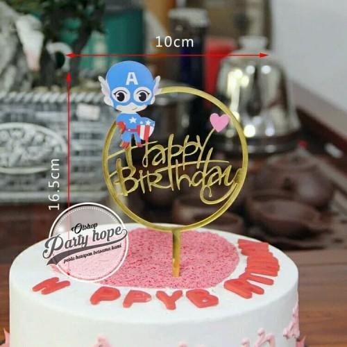 Foto Produk Cake topper happy birthday / tusukan hiasan kue hbd captain america dari PARTY HOPE 2