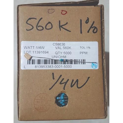 Foto Produk Resistor 560K 1% 1/4W Metal Film dari Bietronik