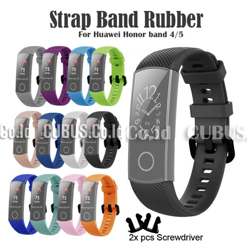 Foto Produk Strap Band Rubber For Huawei Honor band 4/5 - Black dari Cubus_Co_ID