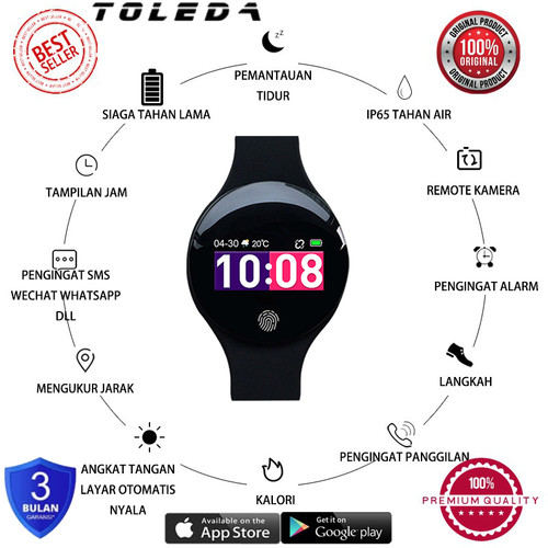 Foto Produk Toleda TLW 08 Original Water Resist Smart Watch Smart Band Resmi - Hitam dari Toleda Indonesia