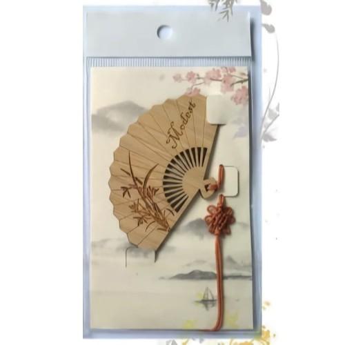 Foto Produk Suvenir Hadiah Pembatas Buku Bentuk Kipas Ukir: ORCHID dari ALPHA-TT