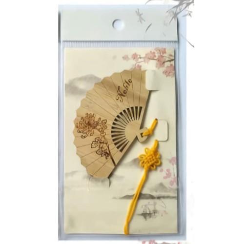 Foto Produk Suvenir Hadiah Pembatas Buku Bentuk Kipas Ukir: CHRYSANTHEMUM dari ALPHA-TT