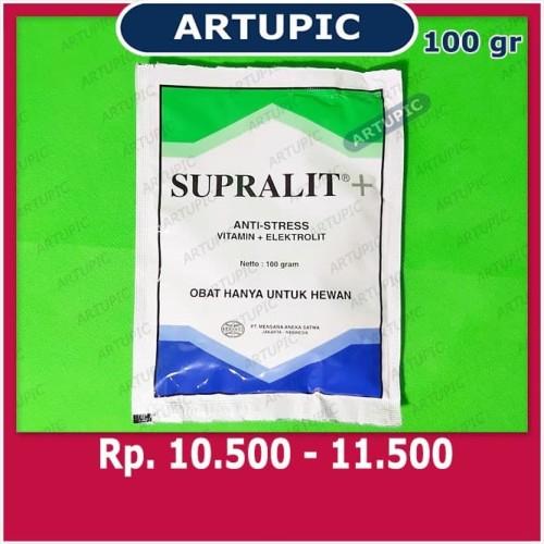 Foto Produk Supralit PLUS 100 gram Anti Stres Elektrolit Vitamin Unggas Ayam dari ArtupicPeralatanPeternak