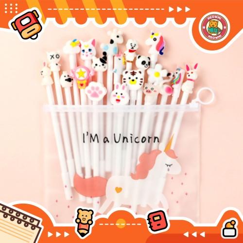 Foto Produk 10pcs Pulpen Set Karakter White Free tempat pensil unicorn pvc BD0006 dari Meowmi Fancy Gift Shop