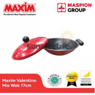 Foto Produk Maxim Valentino Mie Wok Teflon 17cm + Cover /Tutup Wajan Mie - Merah dari SUN ELECTRIC