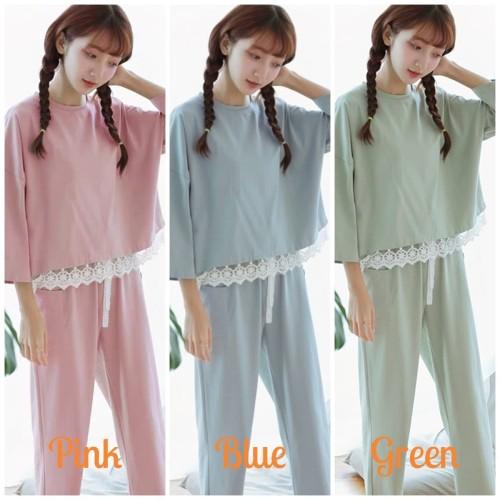 Foto Produk Baju Tidur Piyama Lengan Panjang Wanita Dewasa Motif Basic Rumbai - Hijau dari SJLA Store