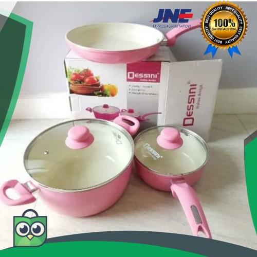 Foto Produk obral Panci Dessini Cookware Ceramic Pan 5 Pcs - Pink elegan dari rumah laris 88
