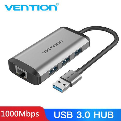 Foto Produk Vention CHD 3 Ports USB 3.0 HUB Pure + Gigabit Ehternet LAN Mac Window - CKB dari VENTION by SinsheTekno