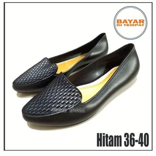 Foto Produk Collin 36-40 Hitam / Sepatu Kuliah Kerja Jelly Flat Balet Wanita dari Fanie shoes