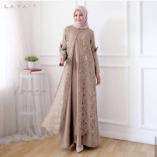 Foto Produk Baju Gamis Syari Wanita Terbaru Laura Maxi Dress Brukat Termurah - Maroon dari hijabafwa