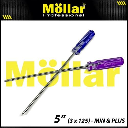 Foto Produk [PAKET] BLITZ 2 Set Obeng Radio Plus Min 5 Inch X 3 Mm Panjang 12.5 Cm dari Mollar Official