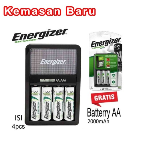 Foto Produk Baterai Charger AA / AAA + 4 Baterai AA 2000 mAh Energizer Maxi dari tk terang jaya elektrik