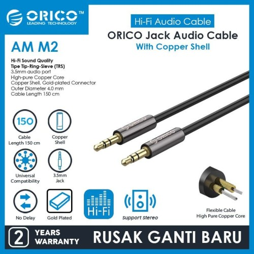 Foto Produk ORICO AUX Copper Shell 3.5mm Audio Extension Cable - 150 cm - AM-M2-15 dari ORICO INDONESIA
