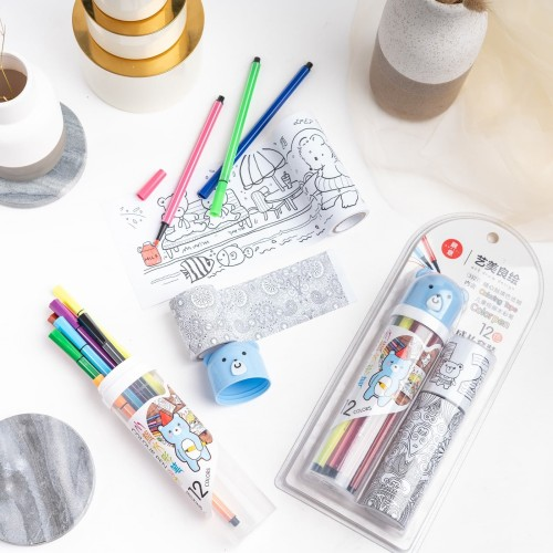 Foto Produk ARAMI COLORING BOOK WITH 12 PCS COLOR MARKER | Buku Gambar Marker Set dari Arami Lifestyle