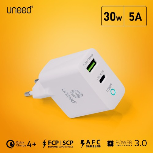 Foto Produk UNEED Smart Charger QC 3.0/QC 4+/PD 3.0 30w with PPS System - UCH407 dari Uneed Indonesia