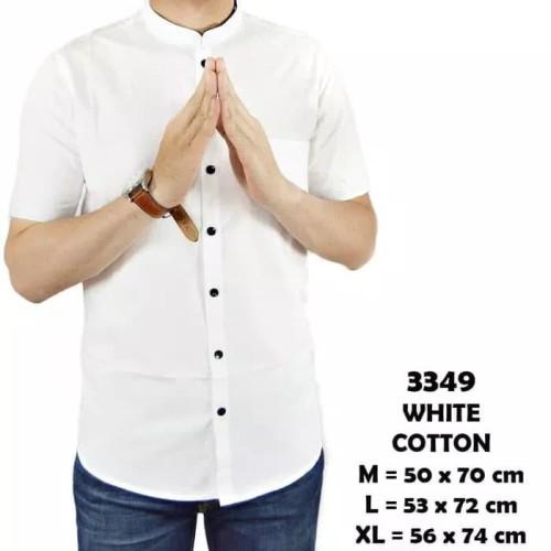 Foto Produk KEMEJA SHANGHAI PRIA LENGAN PENDEK PUTIH CASUAL KERAH TEGAK KOKO - Putih, M dari Goome Fashion Indonesia