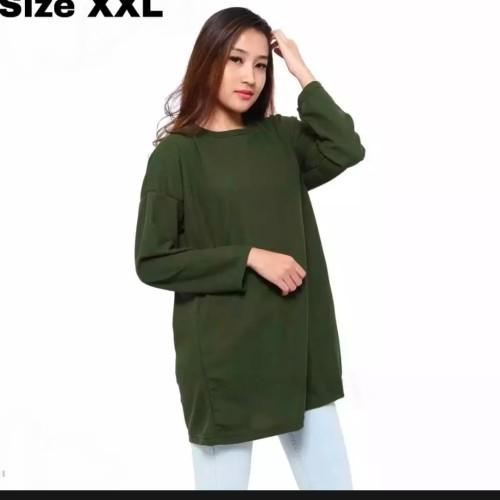 Foto Produk Kaos Wanita Polos Oneck Lengan panjang size XXL - Hijau, XXL dari Jaya Colletion