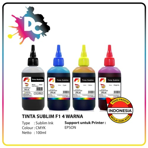 Foto Produk Tinta Sublim F1 Ink for Printer Epson 1 Set Warna CMYK 100ml Original dari Dunia Cetak
