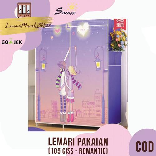 Foto Produk lemari rak pakaian / lemari baju /lemari(105 CI - ROMANTIC),SHENAR - Ungu dari Lemarimurahjkt168