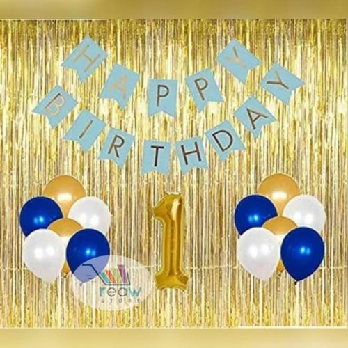 Foto Produk Paket Dekorasi Hiasan Balon Ulang Tahun Happy Birthday Tema Gold 03 dari Reaw Store