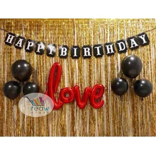 Foto Produk Paket Dekorasi Hiasan Balon Ulang Tahun Happy Birthday Tema Gold 02 dari Reaw Store