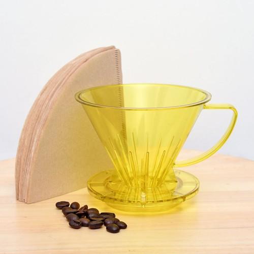 Foto Produk Pourover Dripper SUJI V60 02 Yellow + Paper Filter 02 Natural 40 lbr dari Suji Premium