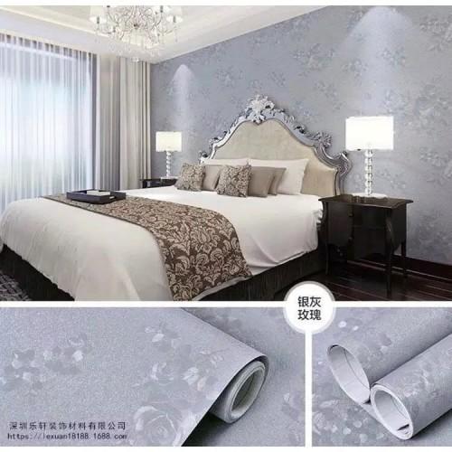 Foto Produk Termurah Grosir Wallpaper Sticker Dinding Abu-Abu Polos Bertekstur dari lily - fashion