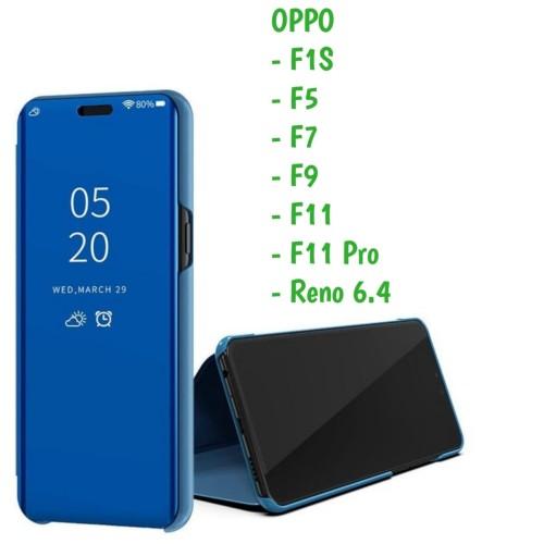 Foto Produk Clear View F1S F5 F7 F9 F11 Pro Oppo Sarung Flip Mirror Cover Standing dari Indo Smart Acc