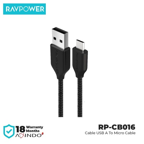 Foto Produk RAVPower Cable 3ft/0.9 USB A to Micro USB Cable [RP-CB016] Black dari RAVPower Official Store