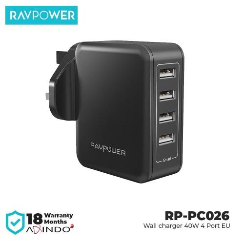 Foto Produk RAVPower Wall Charger 40W 4Port EU Black [RP-PC026] dari RAVPower Official Store