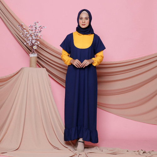 Foto Produk Terminal Grosir | Dress Muslim Wanita | Fiandra Dress - Navy dari Terminalgrosir Indonesia