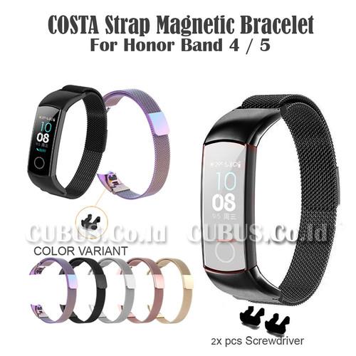 Foto Produk COSTA Strap Magnetic Bracelet Metal Stainless Steel Honor Band 4 / 5 - Black dari Cubus_Co_ID