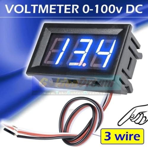 """Foto Produk 3 wire Biru ~ DC Voltmeter 0-100v 0.56"""" Digital Frame Volt Meter 100v dari VISITEK"""
