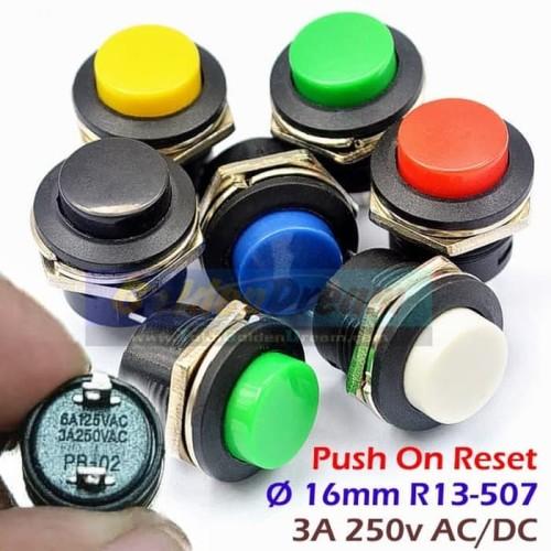 Foto Produk Push On R13 507 16mm Saklar Tombol Reset Momentary Switch Button AC DC - Putih dari VISITEK