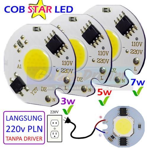 Foto Produk COB Star 220v 3w 5w 7w LED Putih White Lampu PLN AC Super Terang 25mm - 5w dari VISITEK