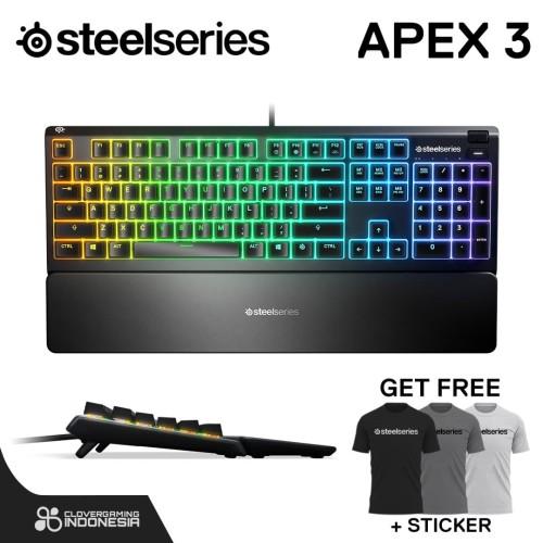 Foto Produk Steelseries Apex 3 RGB - Whisper Quiet Gaming Keyboard dari Clover Gaming Indonesia