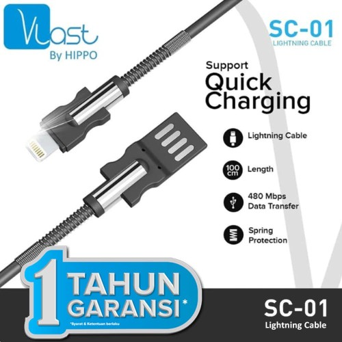 Foto Produk Hippo Vlast Kabel Data Lightning 100cm SC-01 - Vlast Lightning 100cm - Cokelat dari iLo Official Store