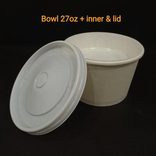 Foto Produk Paper bowl 27oz + inner & lid dari twees