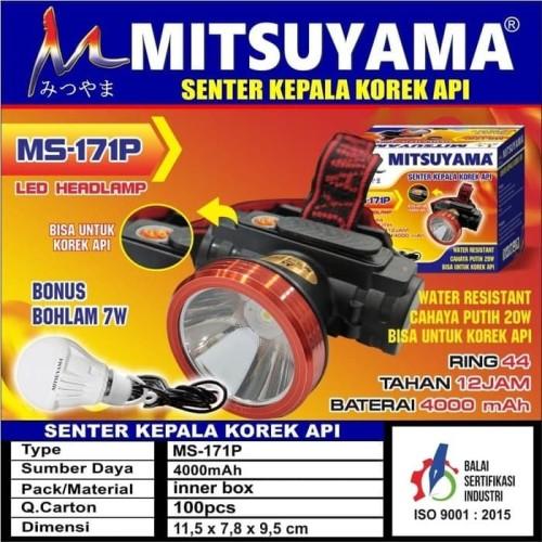 Foto Produk Senter Kepala LED Headlamp Korek Api + Bohlam 7 Watt Mitsuyama MS-171P dari Pooh Shop Grosir
