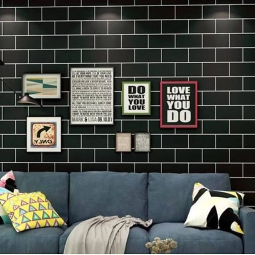 Foto Produk wallpaper stiker motif bata futuristik hitam list putih dari wallpaper_sip
