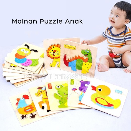 Foto Produk Puzzle kayu Gambar Hewan Animal Puzzle Toys Mainan Anak TO-A12 - CARPENTERWORM dari indo ultimate