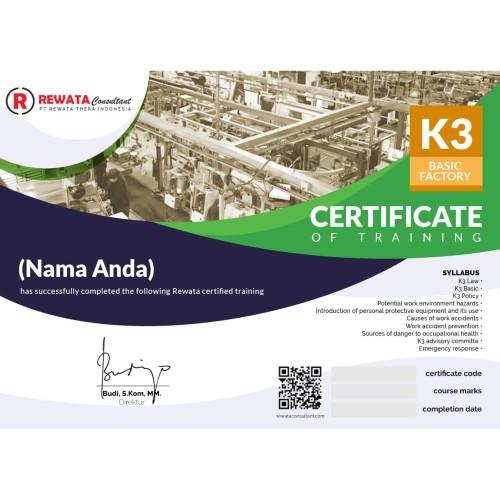 Foto Produk SERTIFIKAT ARKADEMI - K3 BASIC FACTORY By REWATA dari Rewata Consultant