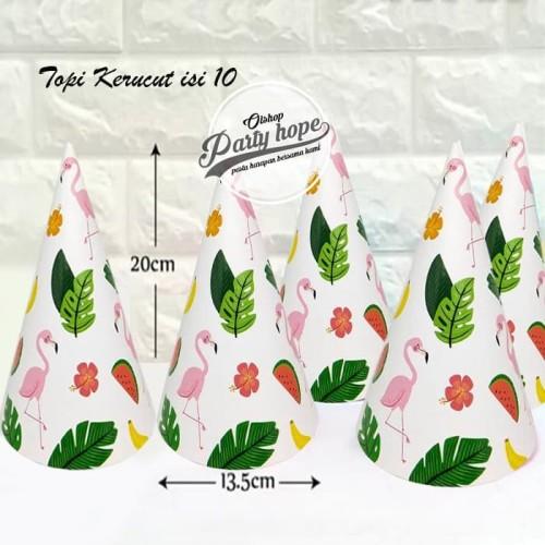 Foto Produk Topi Ulang Tahun flamingo / Topi Pesta Flamingo / topi ultah kerucut dari PARTY HOPE 2