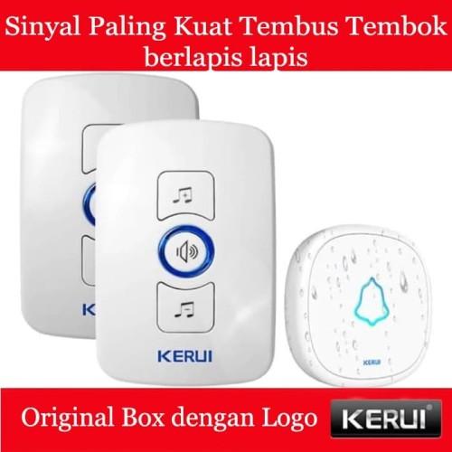 Foto Produk KERUI Wireless Doorbell Waterproof Door Bell Pintu rumah 2 Receiver - Putih dari Asyam Weiseman