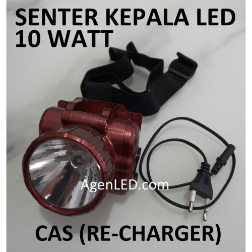 Foto Produk Lampu Senter Kepala LED 10W HEADLAMP COB Recharge Cas Charger 10 WATT dari AgenLED