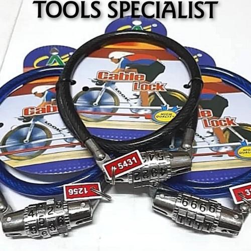 Foto Produk Gembok Kunci Sepeda Motor Kabel Nomor KECIL dari Tools Specialist