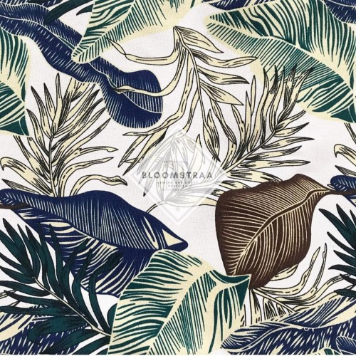 Foto Produk Kain Kanvas Tropical Blue canvas bahan daun tropis biru palem dari Bloomstraa