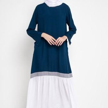 Foto Produk Gamis Wanita Muslim RA Hijab Iria Teal Blue Premium - L dari RAHijabofficialshop