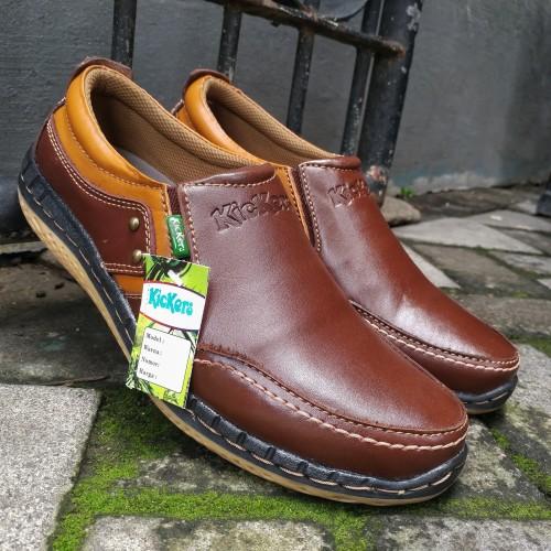 Foto Produk Sepatu Casual Pria Bahan Kulit Asli Kasual Slip On Kode KC.13 dari rif&lif store